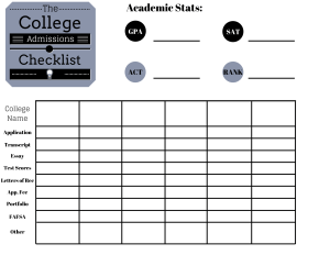 college admissions checklist
