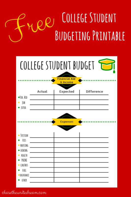 Online budget worksheet for college students