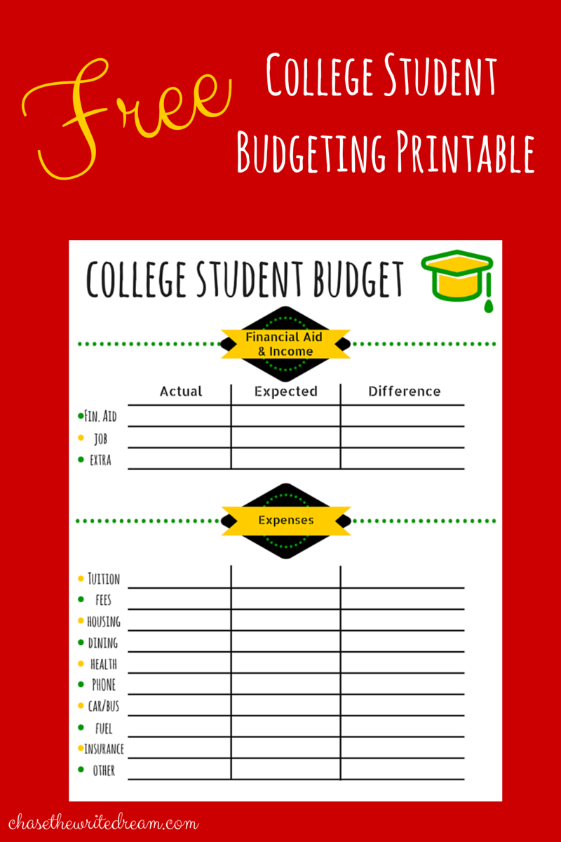 free college student budget worksheet Quotes